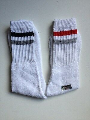 Mens Cotton Rich Sports Socks White With 2 Stripes 2 Pairs Size 6 - 11 Freepost