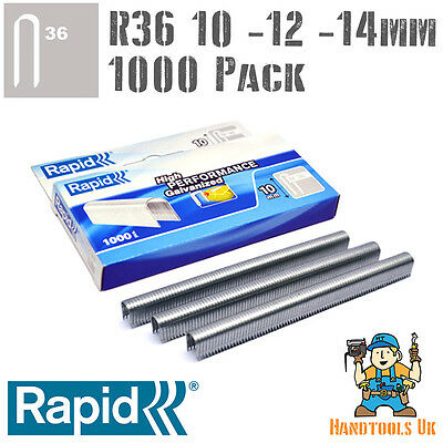 Cable Staples - Rapid R36 Galvanized Steel - 10, 12 ,14mm  - Handy 1000 Pack