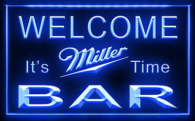 W0822 B BAR Welcome Miller Time Beer LED Light Sign