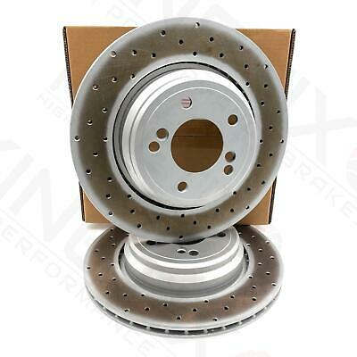 For Bmw M3 3.2 E46 Rear Brake Discs Cross Drilled Kinetix Performance Pair Set 2