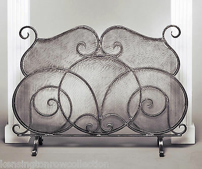 """Fireplace Screens - """"oxford Square"""" Fireplace Screen - Pewter Finish / Wire Mesh"""