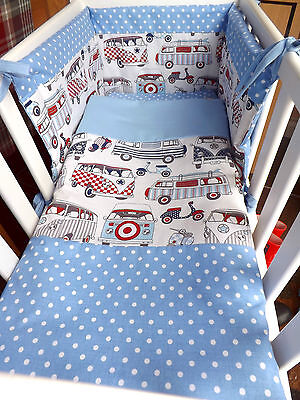 CRIB / CRADLE BEDDING SET,BEAUTIFUL BLUE happy campers, BABY BOY made to order