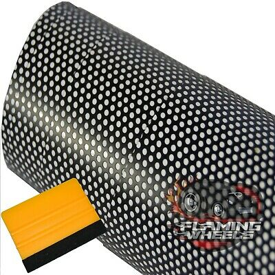 1.2m x 30cm Tint film mesh Fly vision headlights rear lamp PERFORATED + SQUEEGEE