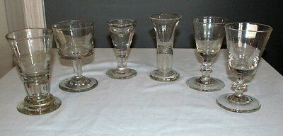 Antique Wine Glass Group 6 pieces Early