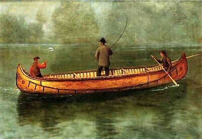 """Huge Oil painting three men fishers - Fishing from a Canoe landscape canvas 36"""""""