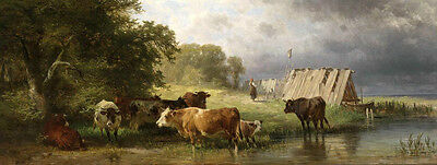 """Huge Oil painting animal cows cattles drinking water by the stream landscape 72"""""""