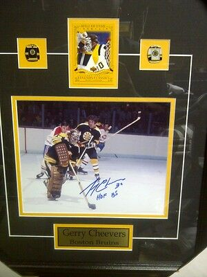 Gerry Cheevers Signed / Autographed Hockey Frame Boston Bruins Free Shipping