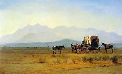Art Oil painting nice landscape Surveyors Wagon in the Rockies & carriage 36""