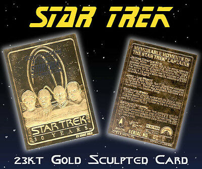 STAR TREK 4 Captains 30 Year Anniv*23KT GOLD Card,(KIRK /PICARD /SISKO /JANEWAY)