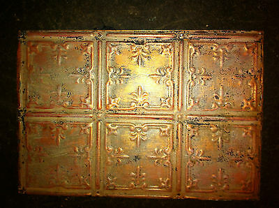 "Tin Ceiling Panel Paint Enhaned 12"" x 18"" Ready to Hang"