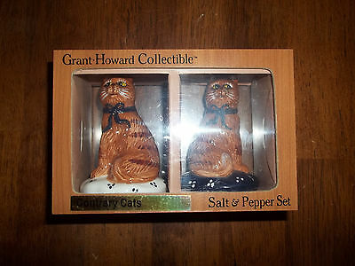 Grant Howard collectible Contrary Cat's Salt &Pepper Shaker