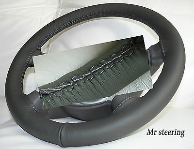 Fits Vauxhall Frontera B Mk2 Dark Grey Top Quality Leather Steering Wheel Cover