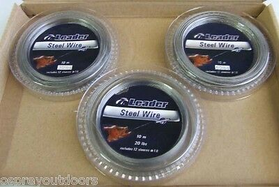 "3 PACK ""STAINLESS LEADER KITS"" 20LB / 30LB / 60LB with CRIMPS"