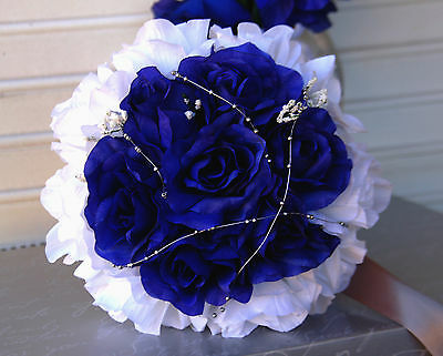 Royal blue silver white wedding bouquet bridal party flower royal blue silver white wedding bouquet bridal party flower available mightylinksfo