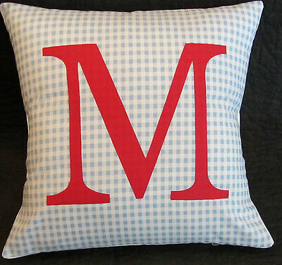 Boys Kids Personalised Blue & Red Check Name Initial Letter Cushion  Cover