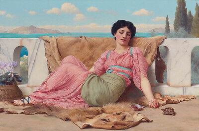 Art oil painting young beauty girl & The_quiet_pet,_by_John_William_Godward 36""