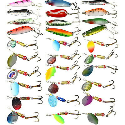 New Lots Assorted Metal Spoon Fishing Lures Bait Salmon Bass With Treble Hooks