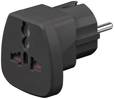 95300 UK US WORLD to EU Travel Adapter Reise Stromadapter 2 Pin 230V max 13A