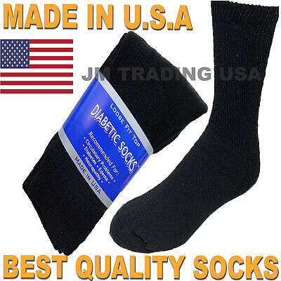 Best quality 12 pair of mens black Diabetic crew socks size 10-13 MADE IN USA