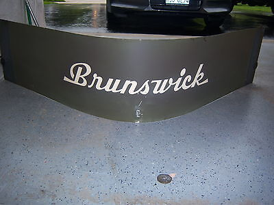 1940s Brunswick Bowling Pin Hood Cover Advertising Metal Sign Vintage Antique