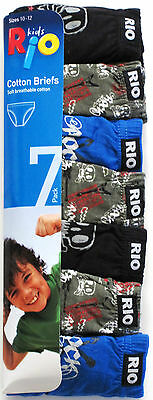 Rio Boys 8 Pack Soft Breathable Cotton Briefs Underwear sizes 8 10 12 14 Multi