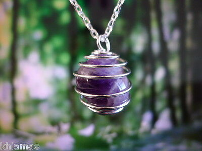 """Amethyst Silver Spiral Necklace 18"""" chain pendant gemstone crystal wicca pagan"""