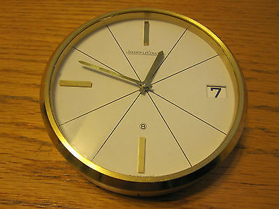 JAEGER-leCOULTRE DESK CLOCK GOLD COATED BRASS VINTAGE SWISS MADE