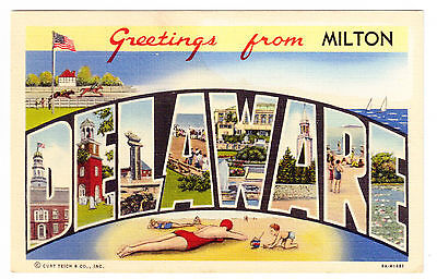 Greetings From Milton, Delaware, Postcard, Multiple Images In Large Letters 1941