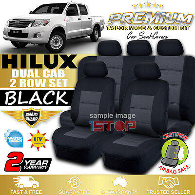 TOYOTA HILUX DUAL CAB SR SR5 4x2 BLACK CUSTOM FIT SEAT COVERS 03/2005-06/2015