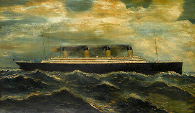 """Dream-art oil painting seascape big ship Titanic with ocean waves canvas 24""""x36"""""""