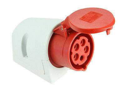 CEE Wandsteckdose 5 polig 16A 6h 400V IP44 rot CEE-Wanddose Starkstrom PCE 115-6