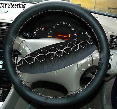 FITS MERCEDES W203 01-07 BEIGE LEATHER STEERING WHEEL COVER WHITE DOUBLE STITCH