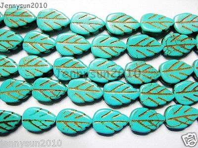 Blue Howlite Turquoise Gemstone Side Ways Lovely Leaf Loose Beads 16'' Strand