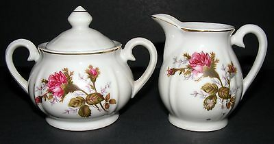 Cream & Sugar Set Made in Japan with Pink Roses Gold trim stamp on bottom