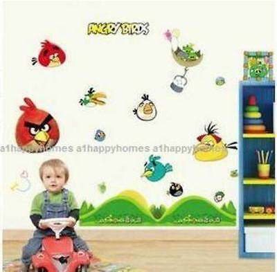 Angry Birds Wall Stickers Reusable & Transparent Kids Nursery Vinyl Decals