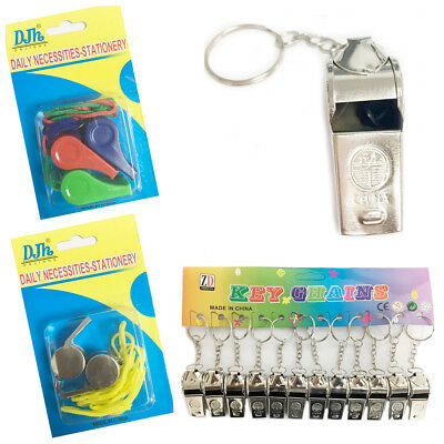 Referee Metal Whistle Lifeguards Sports Blowing Whistles with Keychain / String