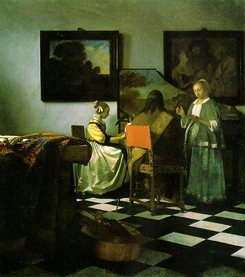 """Dream-art Oil painting Johannes Vermeer - The Concert Girls with the Pianist 36"""""""