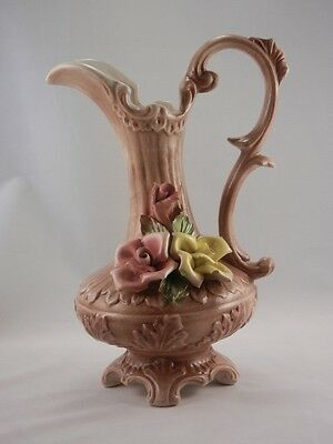 Pristine Antique Footed Bassano Capodimonte Porcelain Ewer Pitcher Italy