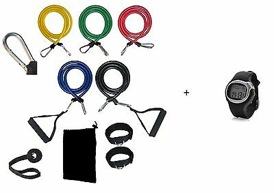 11 Piece Pilates Bands And Heart Rate Monitor Watch Set Resistance Kit Gym