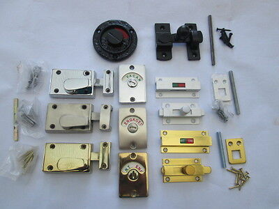 IN 6 FINISHES WC Vacant,Engaged Toilet Bathroom door lock Latch Indicator bolt