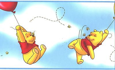 DISNEY WINNIE THE POOH ON RED BLUE & YELLOW BALLOONS WALLPAPER BORDERS 41262130