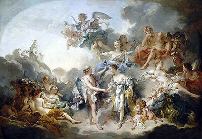 """Oil painting francois boucher Marriage and Love & angels in Heaven canvas 36"""""""