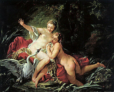 """Nice Oil painting francois boucher Leda and the Swan in landscape canvas 36"""""""