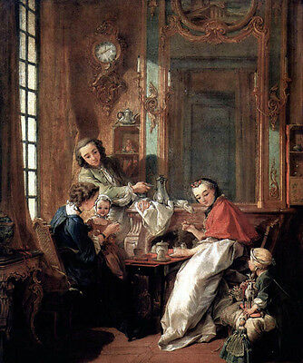 """Art Beautiful Oil painting francois boucher The Afternoon Meal happy family 36"""""""