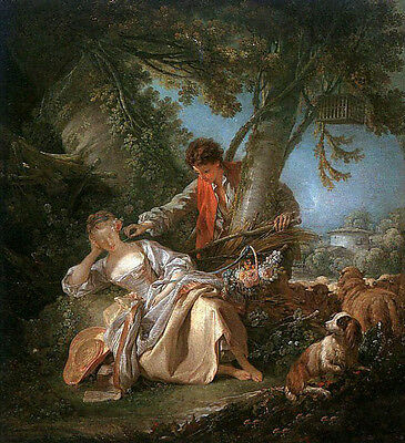 Oil painting francois boucher - The Interrupted Sleep young lovers & sheep dog