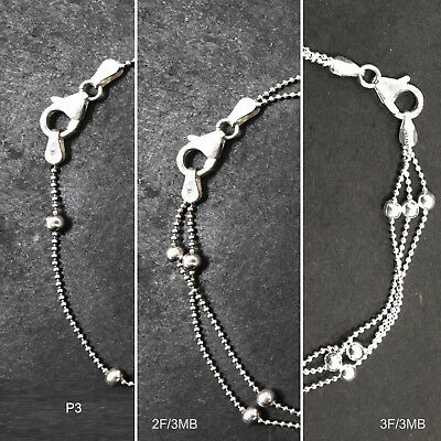 """ITALY 925 Sterling Silver Ball 2F3B Necklace/Bracelet Chain-Ball Chain-7"""" 8"""" 16"""""""