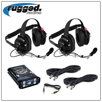 2 Seat 686 Intercom Kit w/ Headsets Offroad Racing Rugged Radio In Vehicle Comm.