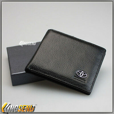 deluxe TOYOTA Genuine 100% Cow Leather Bifold Wallet Men Slim Purse Car Pouch A