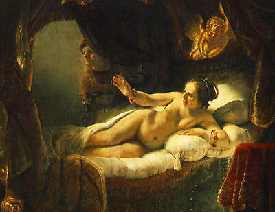 Oil painting Rembrandt Netherlands Nude Danae on bed - King of Argos's daughter