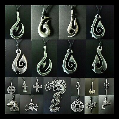 New Maori Style Necklace Pewter Pendant Surf Tattoo Mens Boys Necklace